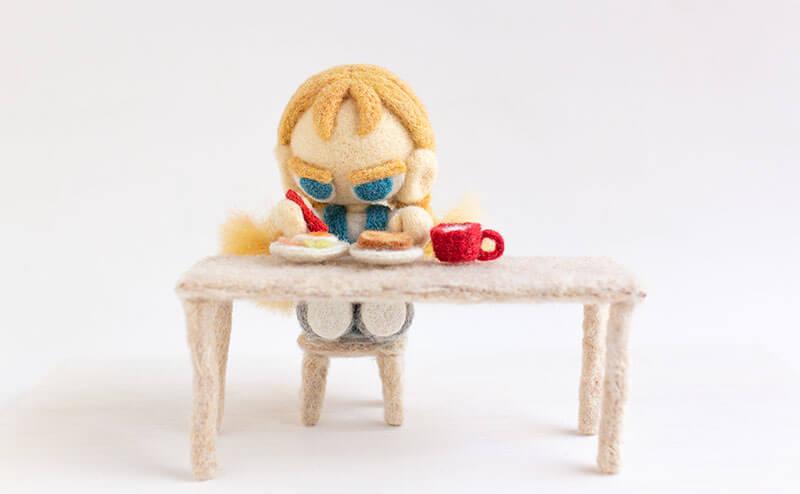 羊毛フェルト人形 朝ごはん