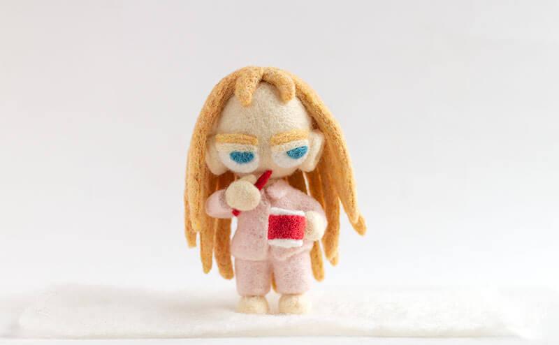 羊毛フェルト人形 歯みがき