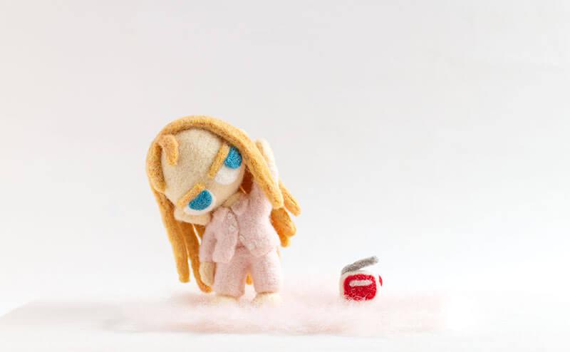 羊毛フェルト人形 ラジオ体操